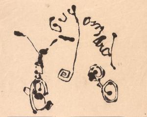 """"""" Bicyclette """" Dessin, encre sur papier 1968"""