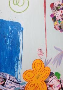 """""""L""""amour de la cascade"""" Hommage à Hokusaï huile sur toile 116 x 81 cm 2012"""