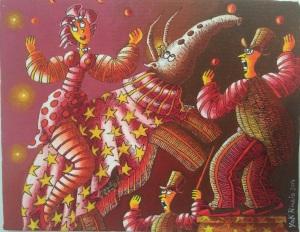 """""""Au cirque"""" 19 x 24 cm  acrylique  2014"""