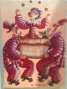 """""""Les clowns"""" 22 x 16 cm acrylique  2014"""