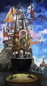 """""""Les serres des villes"""" collages 140 x 76 cm"""