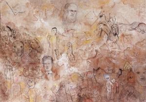 """""""Réminiscences"""" acrylique et pastels sur toile 162 x 115 cm 2015"""